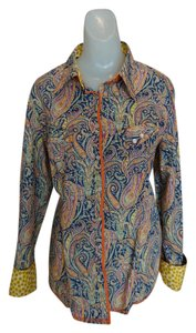Georg Roth Los Angeles Floral Paisley Vibrant 70's Velvet Western Orange Yellow Cotton Button Down Shirt Multi