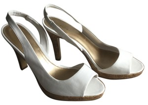 Fioni White with Cork Heal-Trim Pumps