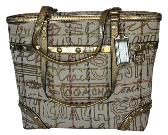 Preload https://item2.tradesy.com/images/coach-heritage-tatersall-multicolor-coated-canvas-tote-4742581-0-0.jpg?width=440&height=440