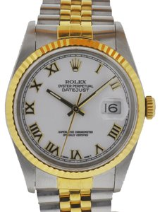 Rolex Rolex Two Tone Datejust White Roman Numeral Dial 16233 Watch