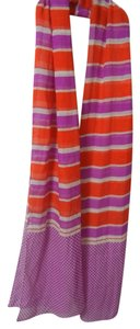 J.Crew J.Crew Red White & Purple Striped & Dot Silk & Wool Wrap New