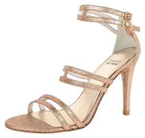 Stuart Weitzman Glitter Sandal Stiletto Gold Pumps