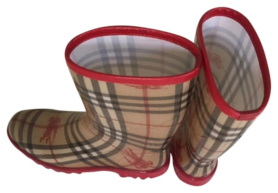Burberry Red & Tan & Red Black Rain/Snow Boots/Booties bde64a