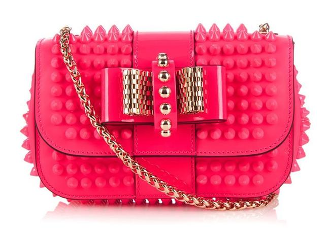 Item - Sweet Charity Spike Florescent Pink Leather Cross Body Bag