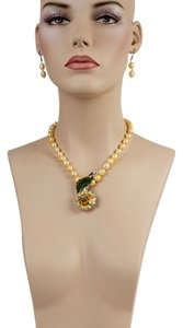 Other Yellow Pearl Necklace & Earrings