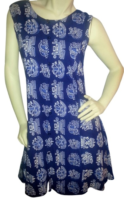 Preload https://item3.tradesy.com/images/blue-batik-button-down-knee-length-short-casual-dress-size-10-m-4743757-0-0.jpg?width=400&height=650