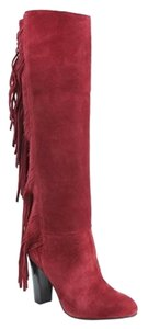 Diane von Furstenberg Suede Knee High Red Boots