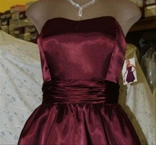 Jordan Fashions Chianti Silk Charmeuse Short #664 Bubble Skirt Semi Sweetheart Neckline Strapless Wine Prom Homecoming Of The Bride Modern Dress Size 10 (M)