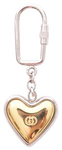 Gucci HEART SHAPED SILVER & GOLD TONE METAL KEY CHAIN