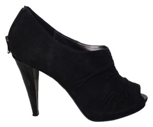 Max Studio Suede Ruched Peep Toe Black Boots