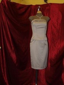 Jordan Fashions Tan Mocha Satin Short Fitted Strapless Flirty Includes Straps Prom Homecoming Mother Of The Destination Bridesmaid/Mob Dress Size 4 (S)