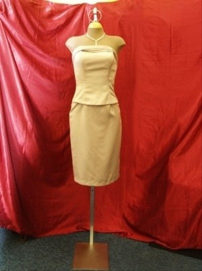 Jordan Fashions Tan Mocha Satin Short Fitted Strapless Flirty Includes Straps Prom Homecoming Mother Of The Bride Beach Special Destination Dress Size 4 (S)