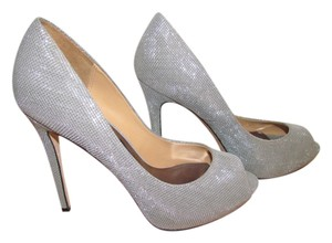Badgley Mischka Peep Toe Silver Pumps