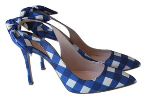 Miu Miu Bow Check Plaid Slingback Sandals