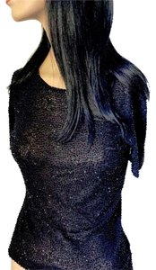Ellen Tracy Shear Beaded Designer Eveining Holiday Date Night Night Out Party Sexy Sheer Top Black