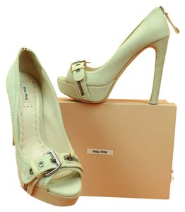 Miu Miu Beige Denim Pumps