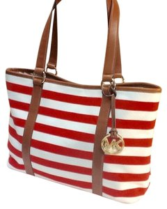 Michael Kors Tote in Madarin Red and White