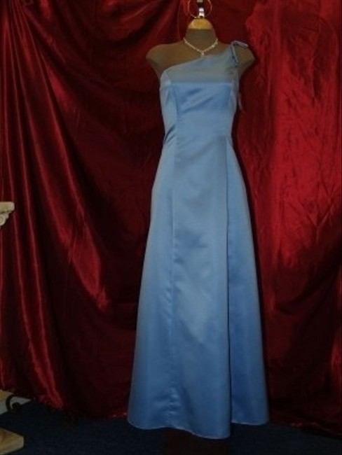 Roberta Periwinkle Blue Satin One Shoulder Strap Long Gown R10505 Traditional Bridesmaid/Mob Dress Size 8 (M) Roberta Periwinkle Blue Satin One Shoulder Strap Long Gown R10505 Traditional Bridesmaid/Mob Dress Size 8 (M) Image 1