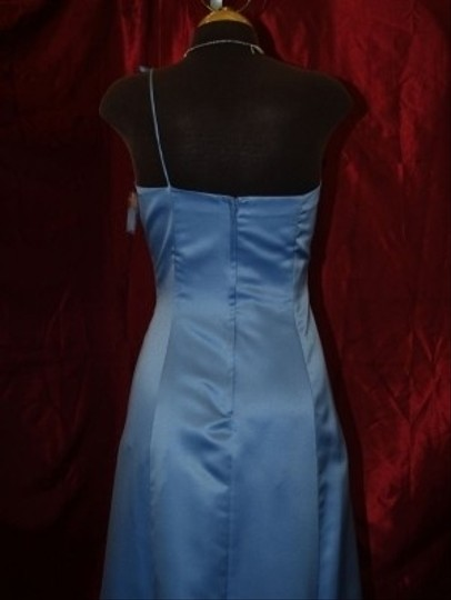 Roberta Periwinkle Blue Satin One Shoulder Strap Long Gown R10505 Traditional Bridesmaid/Mob Dress Size 8 (M)