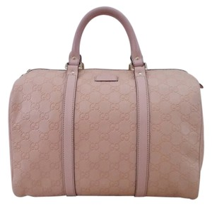 Gucci Gg Print Boston Leather Pink Satchel in Light Pink