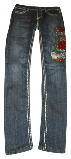 Miss Chic Jeans Signature Signature Series Mid Rise White Stitch Relax Sixty Me Diesel Pant Tattoo Love Stage Rocker Stagewear Skinny Jeans-Dark Rinse
