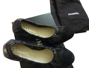 Chanel Logo Leather Black Flats