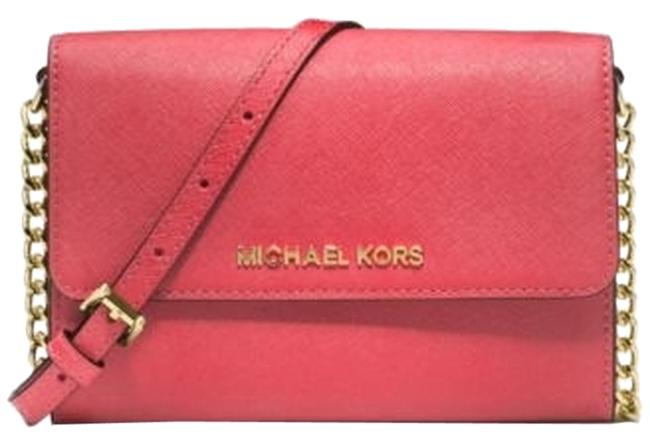 Michael Kors Jet Set Watermelon Saffiano Leather Cross Body Bag Michael Kors Jet Set Watermelon Saffiano Leather Cross Body Bag Image 1