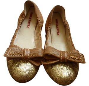 Prada Logo Leather Italian Brown Flats