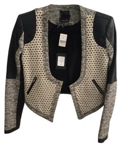 Marissa Webb Leather Leather Black, White, Grey Leather Jacket