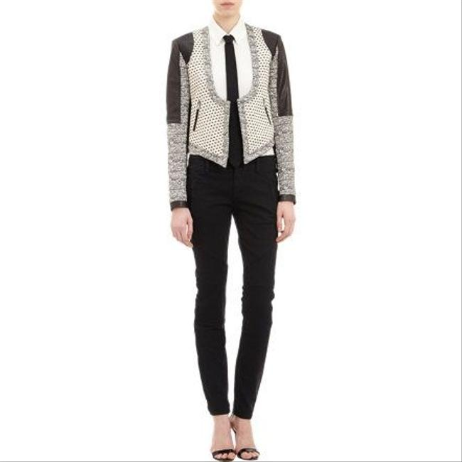 Marissa Webb Leather Leather Cotton Cotton Silk Lining Tweed Daria Daria Leather Panels Panel Quilted Print Cropped Military At Black, White, Grey Leather Jacket