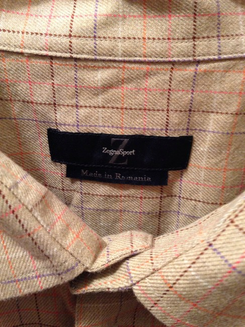 Ermenegildo Zegna Button Down Shirt Tan plaid