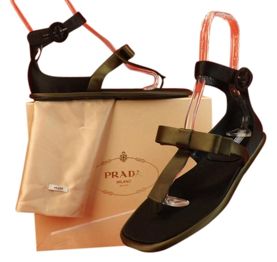 Prada Military Flat Two Tone Black Olive Satin Bow Thong Flat Military Gladiator 6 Sandals 7d53c6