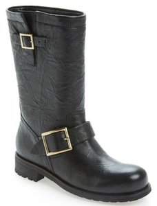 Jimmy Choo Motorcycle Gold Buckles Leather Short Fur Black Boots