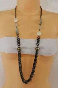 Other Women Long Antique Gold Pewter Metal Necklace Wave Cream Beads Earrings Set