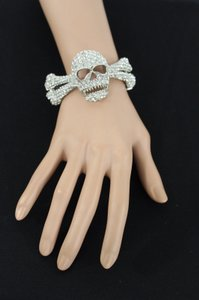 Other Women Gold Silver Metal Bracelet Fashion Skull Skeleton Bones Rhinestones