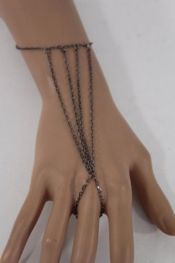 Other Women Metal Multi Layered Pewter Thin Hand Chain Slave Ring