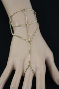 Women Gold Metal Thin Hand Chain Wave Bracelet Casual Fashion Slave Ring