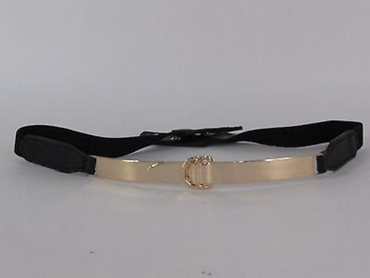 Other Women Belt Hip Waist Mirror Black Band Gold Metal Narrow Thin