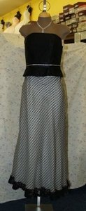 Black Satin 2 Pcs. Strapless Bodice Checkered Skirt Casual Bridesmaid/Mob Dress Size 10 (M)