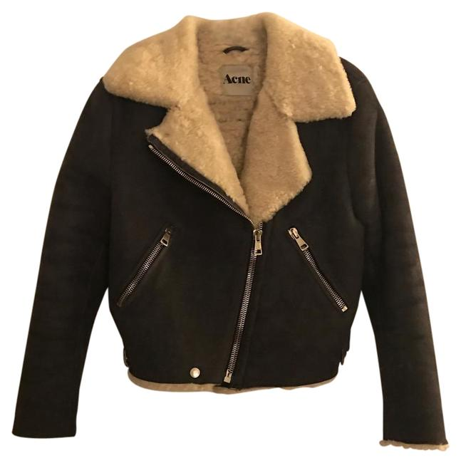 Acne Studios Shearling Leather Moto Cropped Acne Fur Coat