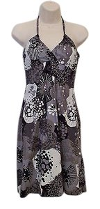 H&M short dress Black Hm Sun Halter White Splash Print 100 Cotton on Tradesy