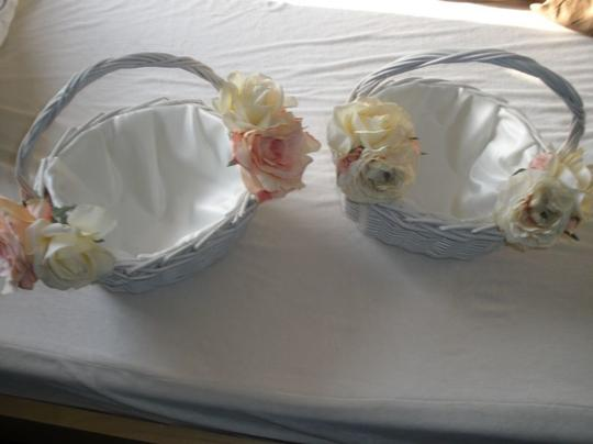 Ivory 2 Off White & Pink Flower Girl Basket