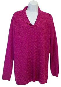 Coldwater Creek V-neck Cable Shawl Collar Relaxed Fit Sweater