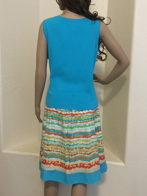 Talbots Talbots striped skirt with teal sleeveless top & jacket