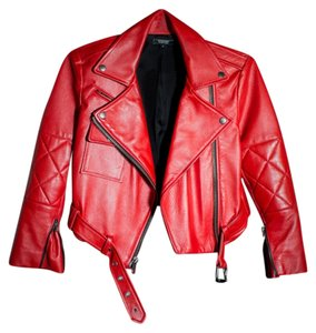 Simone Carvalli red Leather Jacket