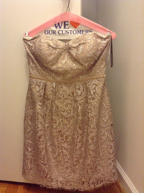 Item - Gold / Sand Stone Lace Hudson Metallic Feminine Bridesmaid/Mob Dress Size 6 (S)