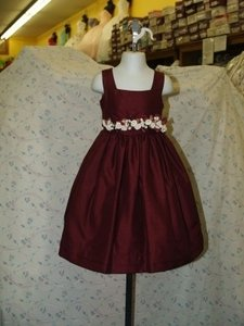 Other Flower Girl Burgundy #m202 Feminine Bridesmaid/Mob Dress Size 2 (XS)