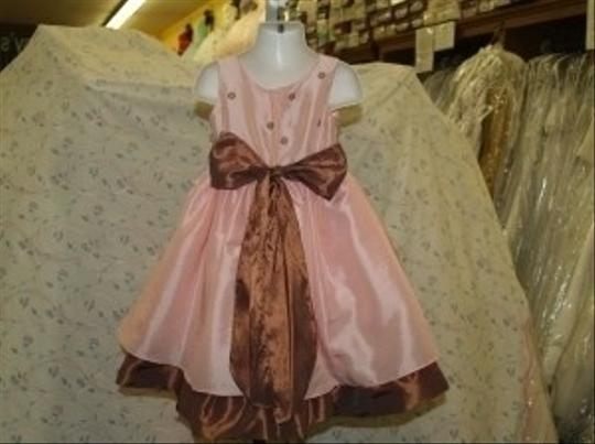 Pink Taffeta Flower Girl Ping/Chocolate #3279 Formal Bridesmaid/Mob Dress Size 2 (XS)