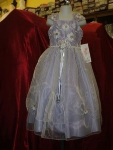 Purple Flower Girl Dress Size: 3 Lavender/white Satin & Organza #518 Pageant Gown Dress