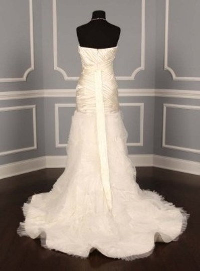 Badgley Mischka Diamond/Silk White Satin Anastacia Formal Wedding Dress Size 10 (M)